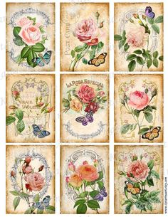 Vintage Roses Shabby chic. French Printable rose images. Digital collage sheet. etiquetas rosas postal tags