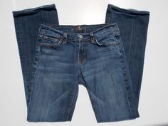 7 FOR ALL MANKIND Low Bootcut Jeans Size 26 Whiskered Dark Wash #7ForAllMankind #BootCut