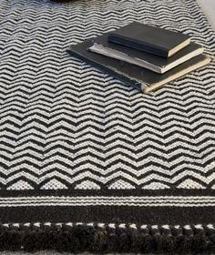 Black herringbone hand woven rug | Charcoal and Grey