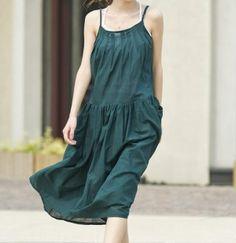 pleated Big pockets Put on a large gallus dress by MaLieb on Etsy by Lieb Ma