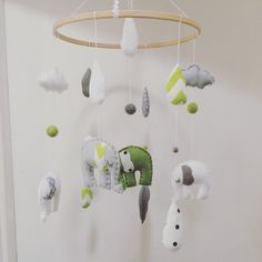 Green, White and Grey Felt Elephant and Clouds Dreamtime Nursery Mobile