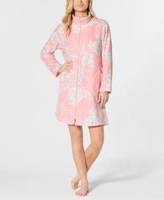f0e3cd982d Miss Elaine Printed Fleece Zip Robe - Gray S
