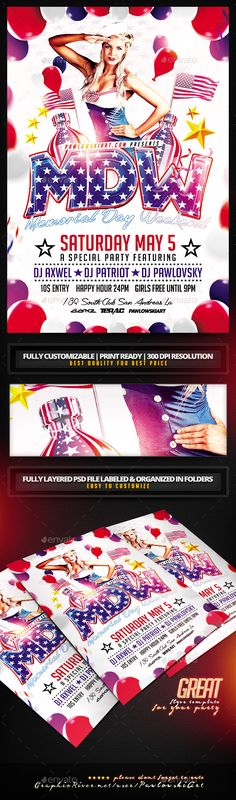 Memorial Day Weekend PSD Flyer Template - Holidays Events