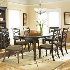Ashley Furniture Hayley Contemporary Rectangular Dining Table with 8 Side Dining Chairs - Godby Home Furnishings - Dining 7 (or more) Piece Set Noblesville, Carmel, Avon, Indianapolis, Indiana Rectangular Dining Set, Dinette Sets, Dining Room Furniture Sets, Casual Dining Rooms, Contemporary Dining Room Sets, Ashley Furniture Dining Room, Dining Table Setting, Ashley Furniture Dining, Side Chairs Dining