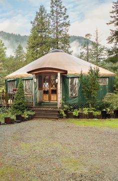 Pets are welcome in this spacious yurt in Smith River National Recreation Area Northern California Yurt Tent, Yurt Camping, Cabin Tent, Yurt Living, Outdoor Living, Tiny Living, Building A Yurt, Moroccan Tent, Luxury Yurt