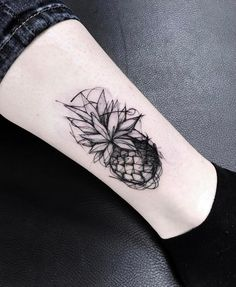 Sketch Style Pineapple Tattoo by katyageta