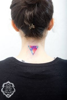 Beautiful triangle watercolor tattoo on neck for girl