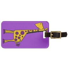 Funky Yellow and Purple Giraffe Cartoon Tag For Luggage #giraffes #funny #luggagetags And www.zazzle.com/naturesmiles*