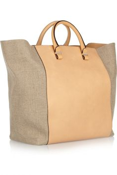 Victoria Beckham shopper leather and linen-canvas tote 3