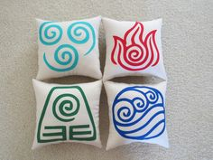 I want to have a library... and in this library there will be window nooks decorated with these pillows!!! haha Avatar: The Last Airbender Element Pillows.