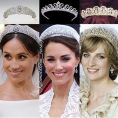 Wedding tiaras❤️ Duchess of Sussex with Queen Mary's diamond bandeau tiara,Princess Diana with the Spencer tiara and Duchess of Cambridge… Royal Crown Jewels, Royal Crowns, Royal Tiaras, Royal Jewelry, Jewellery, Royal Brides, Royal Weddings, Princess Meghan, Princess Diana Tiara