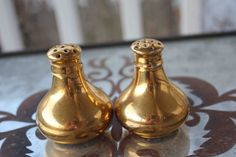 Little Gold Vintage Salt and Pepper Shakers