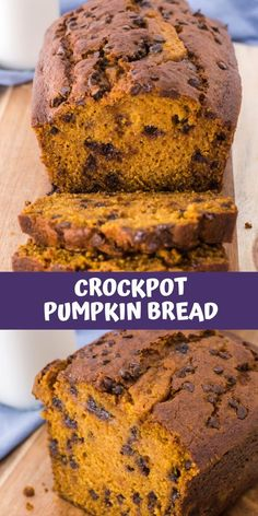 Thought bread was hard to bake or make? This crockpot pumpkin bread recipe is officially going to change your mind. An easy pumpkin infused quick bread, this slow cooker pumpkin bread is dense, but moist and features little notes of chocolate courtesy of a smattering of chocolate chips thrown into the batter. Make it in the bowl of your crockpot, or bake it in the oven- either way it will pair perfectly with your cup of coffee or milk for brunch and dessert.