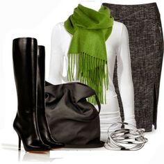 Winter Outfits And Tweed Pencil Skirt