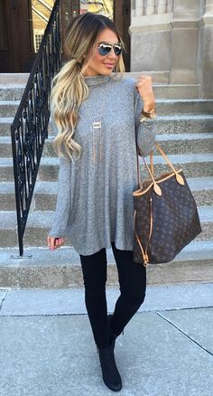 Love this outfit for the fall. Great, loose grey top with leggings. Very comfortable but stylish!