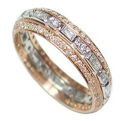 THREE STACKED RINGS TO APPEAR AS ONE . SHOWN IN PINK EDGES AND A WHITE GOLD CENTER AVAILABLE IN ALL COLORS OF GOLD. EACH RING IN 18KT GOLD . ROSE GOLD BEVELED EDGE RINGS ALL RINGS SET WITH DIAMONDS - See more at: http://www.weddingrings.com/3%20STACKED%20RINGS/Vintage%20Style/9/31/687/item