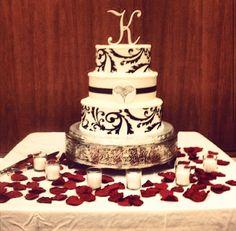 Red and black wedding cake. @Breann Willis Willis Pfouts