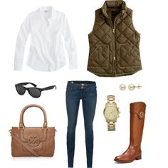 white long sleeved button down, dark but faded Jeans, army green puffed vest, cognac riding boots, #ToryBurch brown handbag, black sunglasses, gold watch and white pearl stud earrings