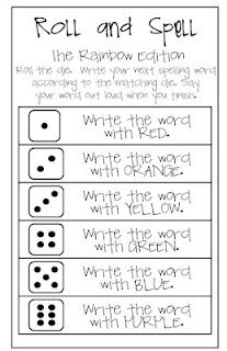 Dice spelling games. Could use for sight words too. Put small numbers that match the dice pips, next to sight words on the wall. Use two di for larger numbers.