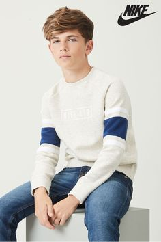 Buy Nike Air Oatmeal Crew Top from the Next UK online shop Boys Nike Air Oatmeal Crew Top - Natural Cute Teen Guys, Cute 13 Year Old Boys, Cute White Boys, Cute Teenage Boys, Preteen Boys Fashion, Young Boys Fashion, Kids Fashion, Guy Fashion, Fashion Outfits