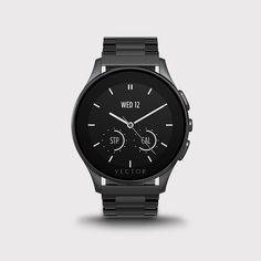 Vector Luna Smart Watch - Brushed Black w/ Black Steel Bracelet Tecno, Stainless Steel Case, Smartwatch, Monochrome, Jewelry Accessories, Lime, Watches, Bracelets