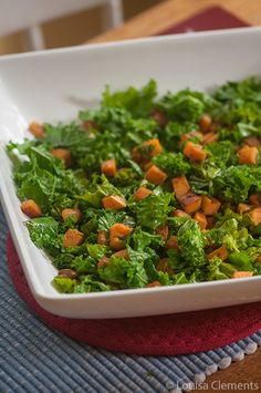 Sautéed Kale and Sweet Potatoes... Doubt my boys would eat this, but maybe I'll try it sometime.