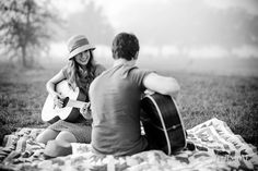 Outdoor engagement session with couple playing their guitars - Footstone Photography