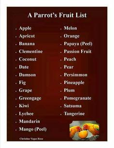 Acceptable fruits for parrots