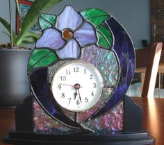 Stained Glass Desk or Table Clock Purple Flower by GlassPizazz, $50.00