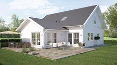 Saltö Klassisk är en perfekt 1.5 plans villa för den som söker ett större hus med ryggåstak för extra rymd. Bungalow, House Elevation, Small Places, Cottage Homes, Architect Design, Villa, New Homes, Exterior, Outdoor Structures