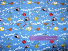Frosty The Snowman Christmas Magic Hat Blue Cotton Fabric By The Half Yard by DaMommasTextiles on Etsy