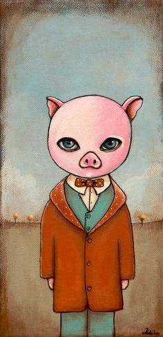 Little Pig fairy tale Acrylic painting wall art decor by Adrisart, SOLD