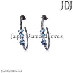 1.93cts Blue Topaz Baguettes Diamond 925 Sterling Silver Hoop Earrings Jewelry #earrings #gemstone #baguettes #diamondjewelry #pavediamond #beautiful #fashion #handmade #hoop #flower #topaz