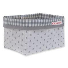 Cottonbaby sterretjes opbergmandje wit / grijs uit de online shop van Babyaccessoires.eu