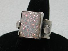 Druzy and Moonstones Sterling Silver Ring by SilverSeahorseDesign, $70.00