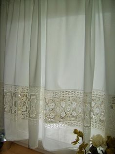 The place to buy and sell everything that is handmade - Wohnen in weißGardinenVintage Girls Room Curtains, Boho Curtains, Beaded Curtains, Old Country Decor, Living Room Decor Country, Vintage Kitchen Curtains, Crochet Home Decor, Decor Crafts, Home Interior Design