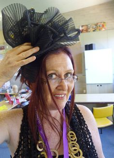 Here is a black crin cocktail hat in process at the International Millinery Forum in Australia, where I taught last January 2012.