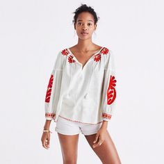 Proper Hunt Shopping Cart // Embroidered Blanca Top