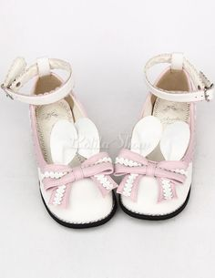 Light Pink Bow Tie PU Lolita Shoes for Girls