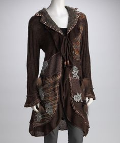 Take a look at this Brown Floral Patchwork Wool-Blend Sweater Coat on zulily today!