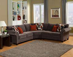 3 pc Barcelona collection charcoal color fabric upholstered sectional sofa with rounded arms and button pin trim