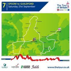 Hopefully catch the climb at Barhatch Lane and then onto to the finish.... Stage 7 - Epsom to Guildford. Saturday 21st September #tob