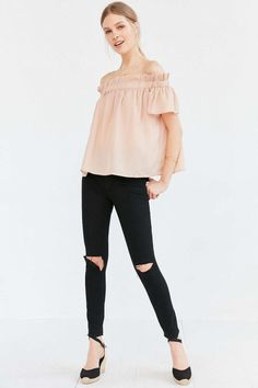 Lucca Couture Ruffle Off-The-Shoulder Blouse Off Shoulder Shirt, Off The Shoulder, Lucca, Flutter Sleeve, Urban Outfitters, Fitness Models, How To Wear, Awesome Stuff, Walks