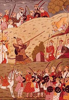 Manucci_Timur_Lang_à_la_chasse.  Les troupes turco-mongoles écrasent ses défenseurs, pillent la ville et massacrent la population. Tamerlan se dirige ensuite vers le nord, où il dévaste les villes de Nagarkot et Jammu, rejoignant Samarkand en mars 1399. Cette expédition foudroyante de quelques mois laisse le sultanat de Delhi dans le chaos.