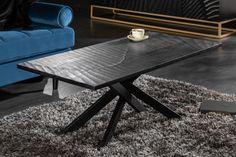 Dizajnový stolík z masívu a kovu čierny 110cm.
