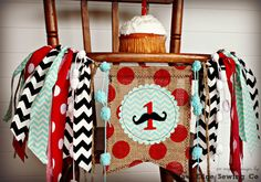 MUSTACHE BASH Birthday Age High Chair Highchair by RawEdgeSewingCo