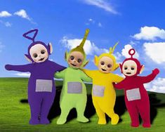 TELETUBBIES WAS A TV SHOW ON WHEN NICKY WAS A TODDLER, HE LOVED IT. HIS FAVORITE TUBBIE WAS LALA, THE YELLOW ONE. SOB.