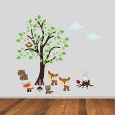 Tree With Woodland Animals Wall Sticker - baby's room