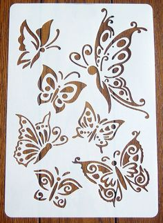 Individual Butterflies Stencil Mask Reusable Mylar Sheet for Arts & Crafts Stencil Patterns, Stencil Painting, Stencil Designs, Butterfly Stencil, Butterfly Crafts, Paper Art, Paper Crafts, Embroidery Designs, Paper Umbrellas