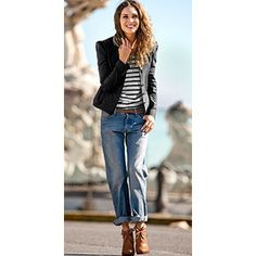 boyfriend jeans with a fitted blazer and heels....go to fall/winter outfit